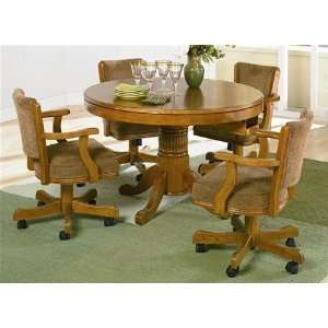 5pc 3 in 1 Game Dining Table & Chairs Set Oak Finish