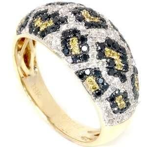 Yellow Gold Ring With Leopard Animal Print Yellow Black White Diamonds