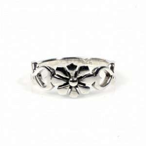 STERLING SILVER RING   Flower and Hearts Jewelry