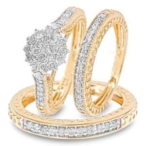 Cut Diamond Three Ring Matching Wedding Ring Set 14K Yellow Gold Three