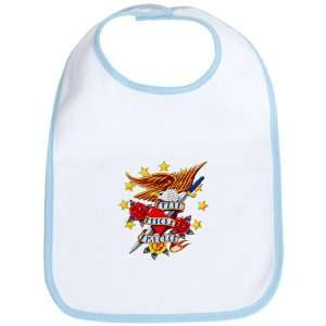 Baby Bib Sky Blue Bald Eagle Death Before Dishonor