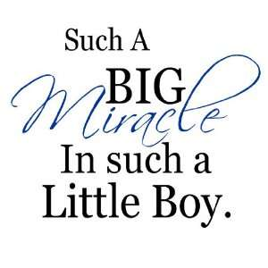 Such a big miracle in such a little boy(blue) vinyl decal