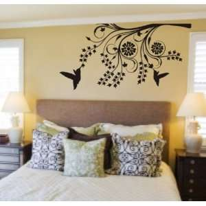 Hummingbirds and Modern Tree Branch Decal Sticker Wall