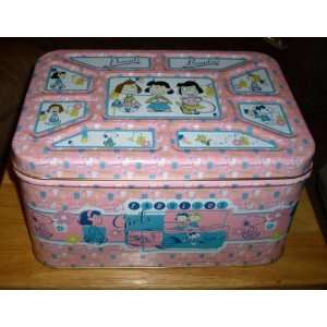 Large Peanuts Beauties Snoopy Fabulous Girls Tin Container w Lid