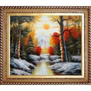 Over Snow Covered Mountain and River Oil Painting, with Exquisite Dark