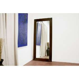 Doniea Dark Brown Wood Frame Modern Mirror   Rectangle