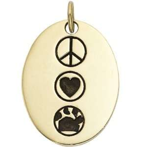 Peace Love Oval with Paw   Gold