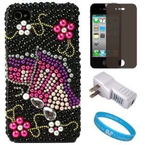 Black Rhinestone Butterfly Design Protective Two Piece