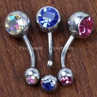 5PCS Double GEM Belly Button Ring Navel Bars Jewels. A very good gift