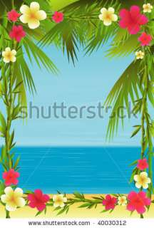 tropical beach framed by bamboo branches, plumerias and palm trees