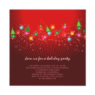 Sparkling Christmas Tree Lights Holiday Party Invi Custom Invitations