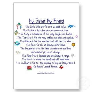 MY SISTER My Friend poem with graphics Postcards  Zazzle.co.uk