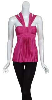 size s 4 6 gorgeous fuschia pink halter top accordion style pleating