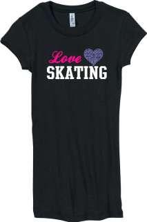 Juniors Love Skating Rhinestone Heart Black Shirt S XXL