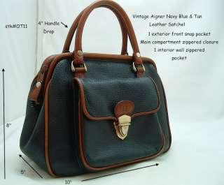 Etienne Aigner*Navy Blue~Leather~Purse/Handbag~Satchel~~FAB Vintage