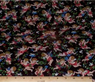 Cherubs Angels Birds on Black Cotton Fabric 2 1/3yds