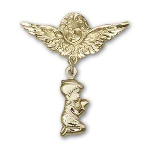 Baby Badge with Praying Boy Charm and Angel w/Wings Badge Pin Jewelry