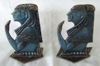 EGYPTIAN brass  bronze BOOKENDS.ANCIENT Pharaohs EGYPT vintage 1950s