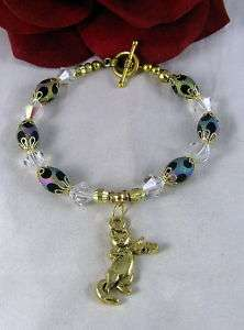 Artisan Frosted Glass Cat Charm Bracelet CAT RESCUE