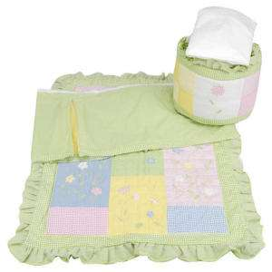 Butterfly Garden Green Blue Baby Girl 4pc Nursery Crib Bedding Set