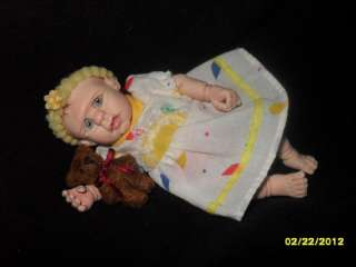 OOAK POLYMER CLAY BABY GIRL MINI ART DOLL 4 SCULPTED   By