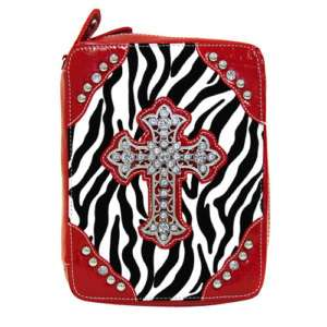 RED ZEBRA RHINESTONE CROSS WESTERN PURSE BIBLE COVER