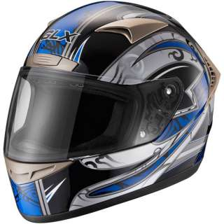 GLX DOT Tribal Full Face Motorcycle Helmet, Blue, M