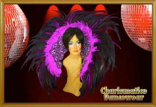 PURPLE BRAZIL DRAG QUEEN TRANSVESTITE Feather SAMBA RIO CARNIVAL