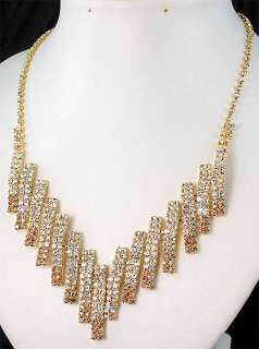 Party Bridal Bridesmaid Golden Diamante Crystals Necklace Earrings Set