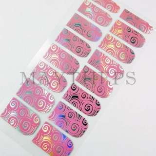 BLING NO HEAT Nail Art Armour Foil PINK WHIRLPOOL #W046