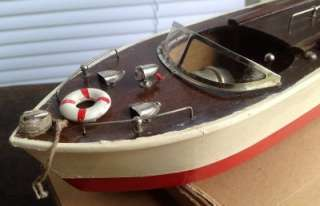 Vintage 1940s/50s CHRIS CRAFT Model Pond Speed Boat Toy w/ Electric