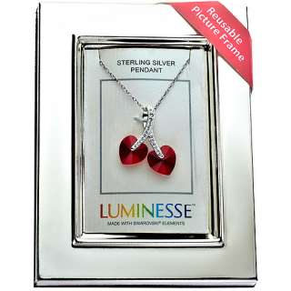 Luminesse Red Crystal Double Hearts Pendant on 18 Sterling Silver