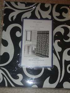 Bella Lux Black Cream DAMASK Shower Curtain NEW Scroll