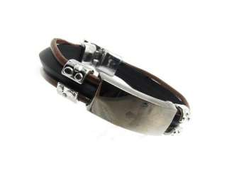 Mens womens jesus cross design leather Bracelet Stainless Steel