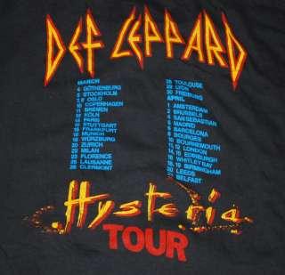 VINTAGE 88 DEF LEPPARD HYSTERIA TOUR T  SHIRT 1988 1980S L ORIGINAL