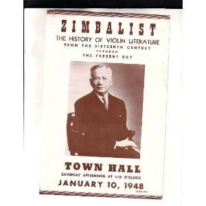 Efrem Zimbalist Handbill NYC Town Hall 1948 Efrem Zimbalist