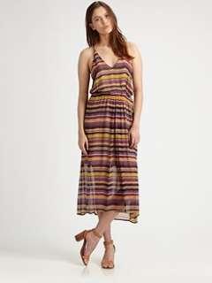 Joie   Striped Silk Racerback Dress