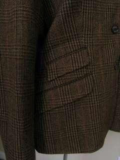 Chaps Tweed Blazer Jacket Equestrian Brown Plaid Wool Logo Buttons 16