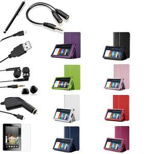 For Kindle Fire   Folio Case Cover/Car Charger/USB Cable/Stylus/Ea