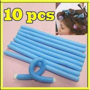 10x Hairstyle DIY Bendy Hair Styling Roller Foam Curler Stick Spiral