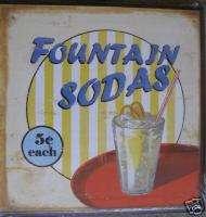 FOUNTAIN SODA Plaque Sign Wall Decor RETRO 50s Style