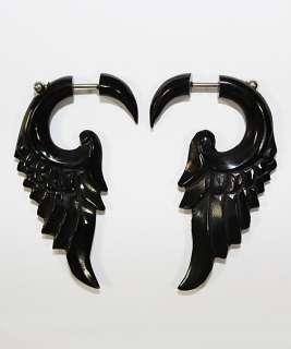 Horn Angel Wing Feather Handmade Tribal Fake Gauge Earrings