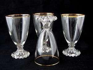 ANCHOR HOCKING BOOPIE GLASS WATER GLASSES, GOLD TRIM