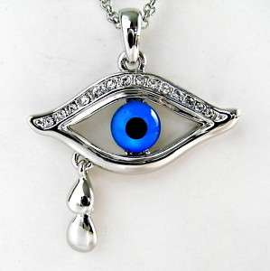 Evil Eye White Gold Plated Crystal Necklace Pendant