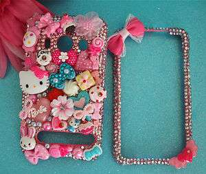 & BARBIE HTC EVO 4G PINK CRYSTAL CANDY HEART DECO BLING PHONE CASE