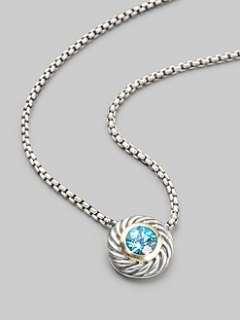 David Yurman   Blue Topaz & Sterling Silver Necklace