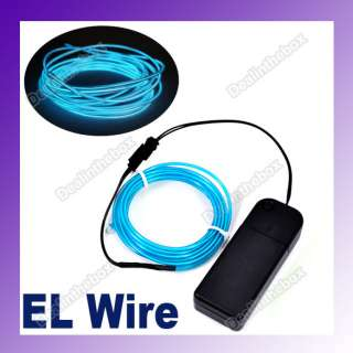3M EL Wire Flexible Neon Light Glow Rope Tube Car Party