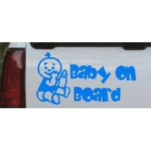 Baby On Board (Boy) Car Window Wall Laptop Decal Sticker    Blue 20in