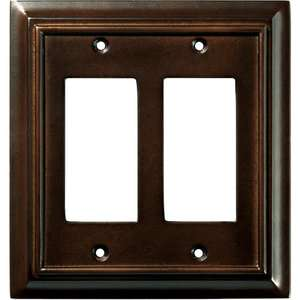 Wood Architectural Double Decorator Wall Plate, Espresso Electrical
