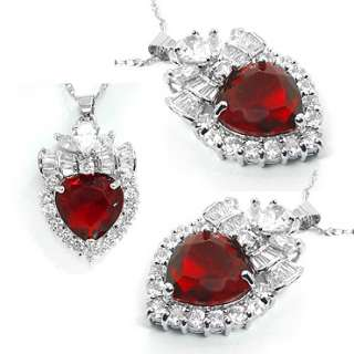 JEWELRY HEART CUT RED RUBY 18K WHITE GOLD GP PENDANT NECKLACE